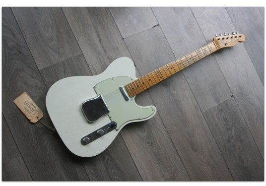 """FENDER """"Custom Shop Postmodern Telecaster 2019 Journeyman Relic Aged Olympic White and Charcoal Frost Metallic"""""""