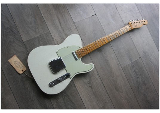 "FENDER ""Custom Shop Postmodern Telecaster Journeyman Relic Aged Olympic White and Charcoal Frost Metallic"""
