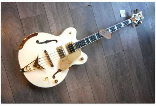 """GRETSCH """"G6136B-TP Tom Petersson Signature Falcon 4-String Bass with Cadillac Tailpiece, Rumble'Tron Pickup, Aged White Lacquer"""""""